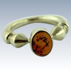 Contemporary Gold Vermeil - Sterling Silver - Amber Ring in Size 4.75
