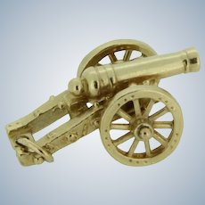 Detailed 14K Yellow Gold Cannon Charm
