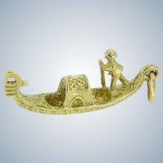 Sweet/Detailed 18K Yellow Gold Gondola Boat Charm