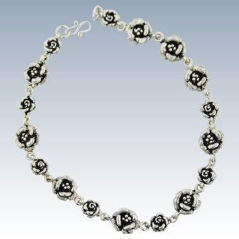 """Beautiful Sterling Silver Floral Rose Link Bracelet - 9 3/4"""""""