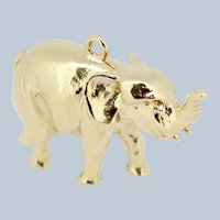 Heavy 14k Yellow Gold Elephant Pendant