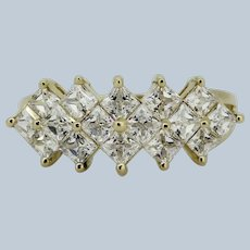 Bright 14k Yellow Gold Princess Cut CZ Cluster Ring - Size 7