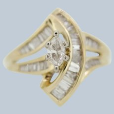 14k Yellow Gold Marquise/Baguette Diamond Swirl Ring - Size 6