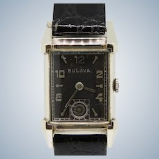 Vintage Bulova 21-Jewels Black Dial 10K Gold Filled Men's Wristwatch