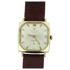 Vintage Wittnauer 10k Gold Filled Swiss Leather Band Wristwatch