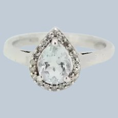 Sterling Silver Light Blue/Clear CZ Ring - Size 7
