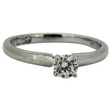 Beautiful 14k White Gold .29ct Solitaire LEO Diamond Ring - Laser Engraved - 5.5