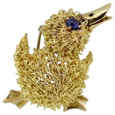 Piaget 18k Yellow Gold Duck Duckling Brooch with Sapphire
