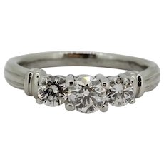 Beautiful .950 Platinum 1ctw Three-Diamond Engagement Ring - Size 7.5