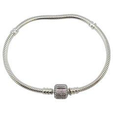 """Pandora Moments Sparkling Pavé Clasp Snake Chain Bracelet 7 1/4""""  590723CZ"""