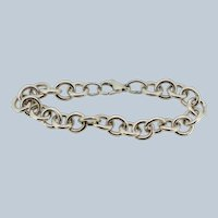 """Sterling Silver Round Cable Link Bracelet - 7.5"""""""