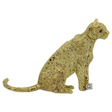 Scully & Scully 18k Yellow Gold Cheetah Pin with Diamond