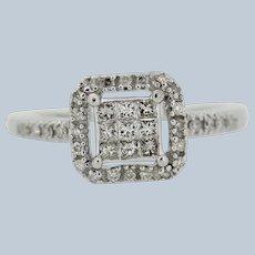 Sweet 10k White Gold Diamond Cluster Engagement Ring - Size 5