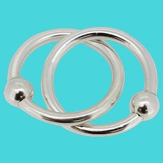 Tiffany & Co. Sterling Silver Double Circle Baby Rattle/Teether