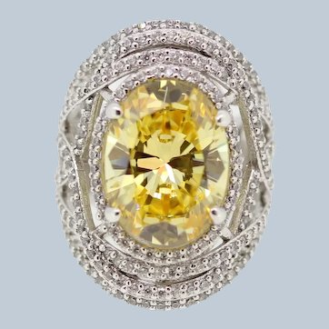 Large Sterling Silver Swirl CZ Citrine Cocktail Ring - Marked W - Size 5.5