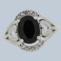 Sterling Silver Oval Onyx Round CZ Cocktail Ring - Size 6