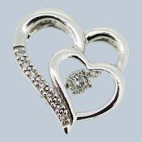 Sterling Silver Double Heart Diamond Slider Pendant