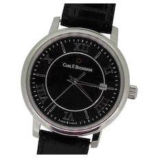 Carl F. Bucherer Adamavi 10314.08 Men's Black Dial Leather Band Wristwatch