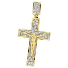 14k Gold Plated/Sterling Silver Diamond Accent Crucifix Pendant