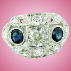 Antique Platinum - Diamond (1.05ctw) - Blue Sapphire Engagement Ring - Size 3.25