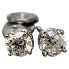 Beautiful 14K White Gold & 1.48ctw Round I1, K Diamond Stud Earrings