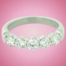 Classic Platinum w/5 Round Diamonds (1ctw) Wedding Anniversary Band Ring-Size 6