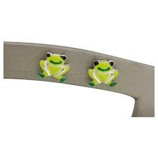 Sweet Sterling Green Enamel Frog Stud Earrings - NWOT