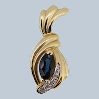 14k Yellow Gold Sapphire/Diamond Swirl Pendant
