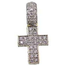 14k Yellow Gold CZ Filled Small Cross Pendant