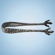Vintage Sterling Silver S Kirk & Son Flower Motif and Claw Sugar Tongs - Stamped 31
