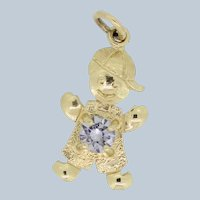 10k Yellow Gold Tiny Boy Charm with Round Clear Stone