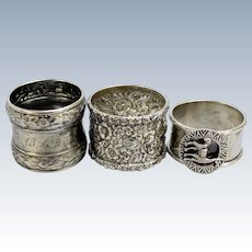 3 Sterling Silver Napkin Rings-Alpaca Llama-Stieff Repousse-BAD Monogram