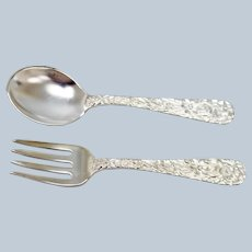 S Kirk & Son Rose Sterling Silver Childs Fork and Spoon Set - Monogrammed