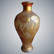 Antique Art Nouveau Gold Aurene Etched Lamp / Vase