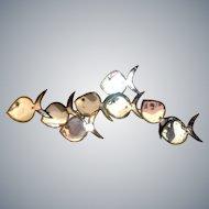 Mid Century Modern Iridescent Metal Fish Wall Mirror Sculpture