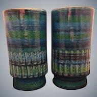Pair MCM Italian Aldo Londi Raymor Blue Rimini Vases