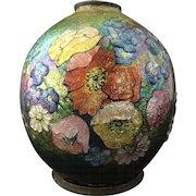 Art Deco Camile Faure Bulbous Enamel Vase
