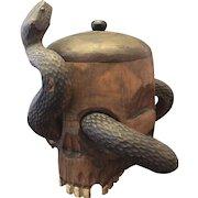 Vintage Folkart Skull Snake Lidded Jar