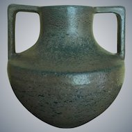 Arts & Crafts Merrimac 2 Handled Matte Green Vase
