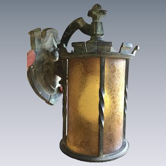 Outstanding Arts & Crafts Bronze & Amber Glass Lantern