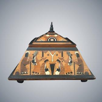 Art Deco Inlaid Egyptian Scene Box