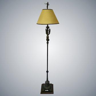 Art Deco Bronze Maiden Floor Lamp