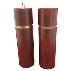 Tall Danish Mid Century Rosewood  Salt & Pepper Shakers