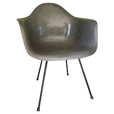Mid Century Charles Eames Gray Fiberglass Armchair
