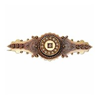 Antique Victorian Ornate Pearl15K Gold Brooch