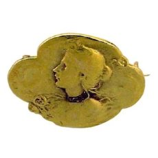 Art Nouveau Gold Brooch with Women Head. Signed.