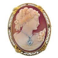 Vintage Dressed Shell Cameo Brooch