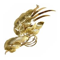 Vintage 18K Gold  Leaves Brooch With Diamond Accent