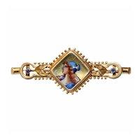 Antique Victorian Enamel & Pearl Gold Brooch