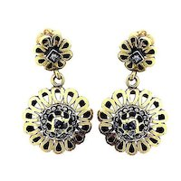 Victorian Antique Chandelier 18K Gold Enamel Earrings